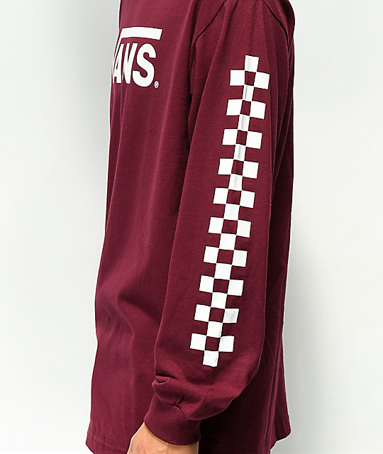 Vans Classic Checkerboard Burgundy Long Sleeve T-Shirt