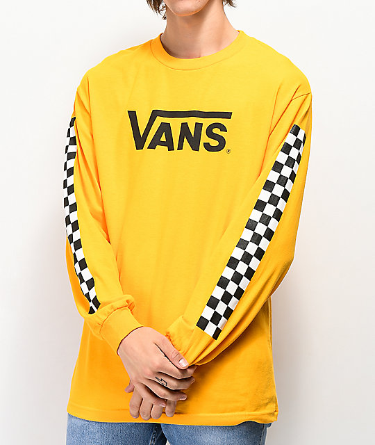 Vans Classic Checkered Gold Long Sleeve T-Shirt | Zumiez