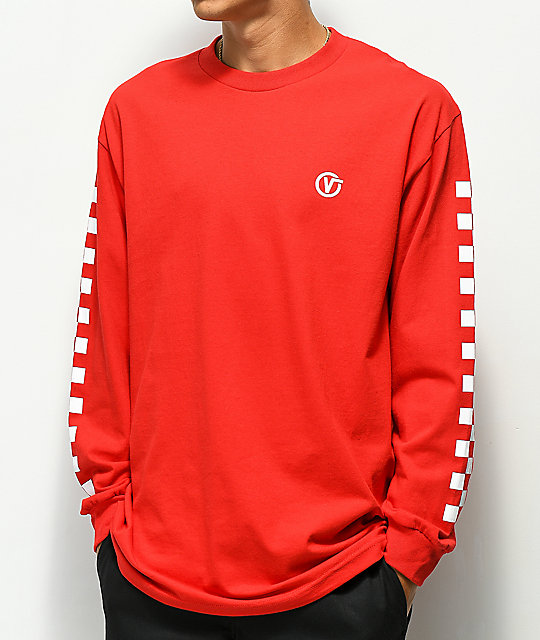 Vans Classic Circle V Red Long Sleeve T-Shirt