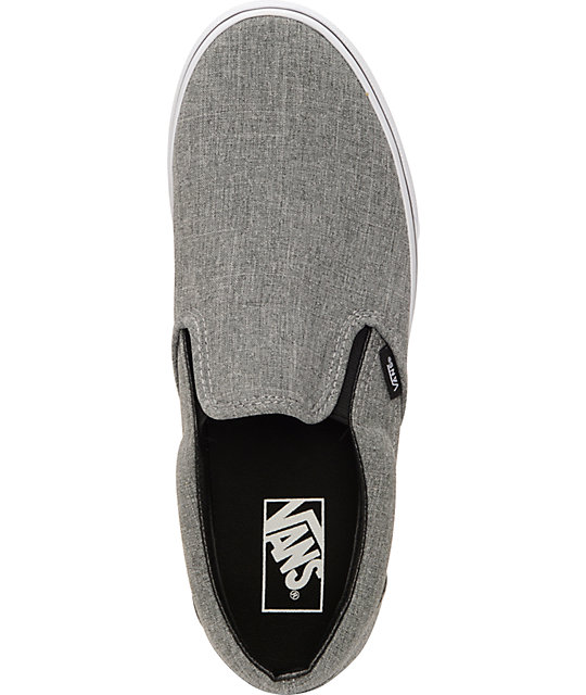 aeabb2f5a371 vans classic grey   white slip on shoe