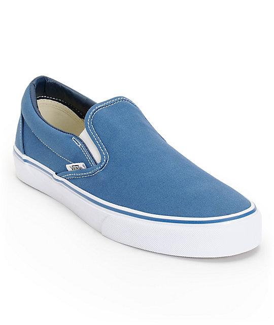 2032ba93e4a Vans Classic Navy Slip On Skate Shoes