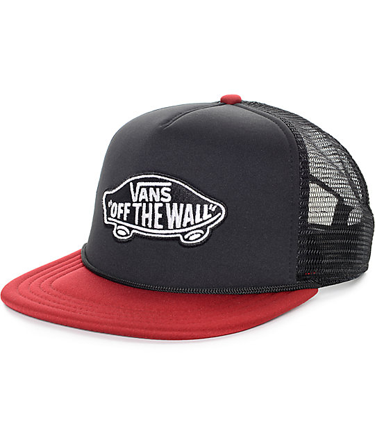 3b704c30fb4a4 Vans Classic Patch Black and Rhubarb Trucker Hat