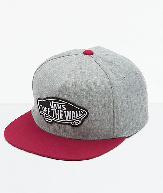 379a43191 Vans Classic Patch Grey & Red Snapback Hat
