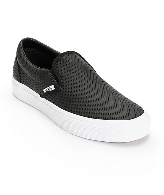 100b97103a36 Vans Classic Perforated Leather Slip-On Shoes