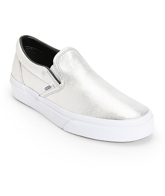 Vans Classic Silver Metallic Slip-On Shoes  69576e383