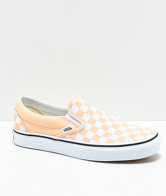 Vans Classic Slip-On Apricot   White Checkerboard Shoes  b465d3c99