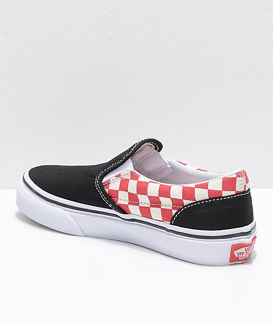200f6dc05b36c0 ... Vans Classic Slip On Black   Red Checker Shoes ...