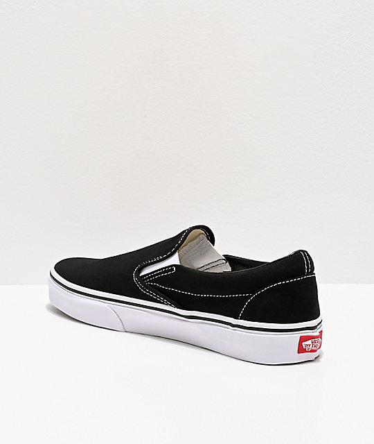e97bc0a3e91c ... Vans Classic Slip On Black   White Shoes ...