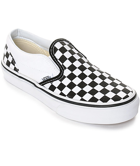 checked vans black and white