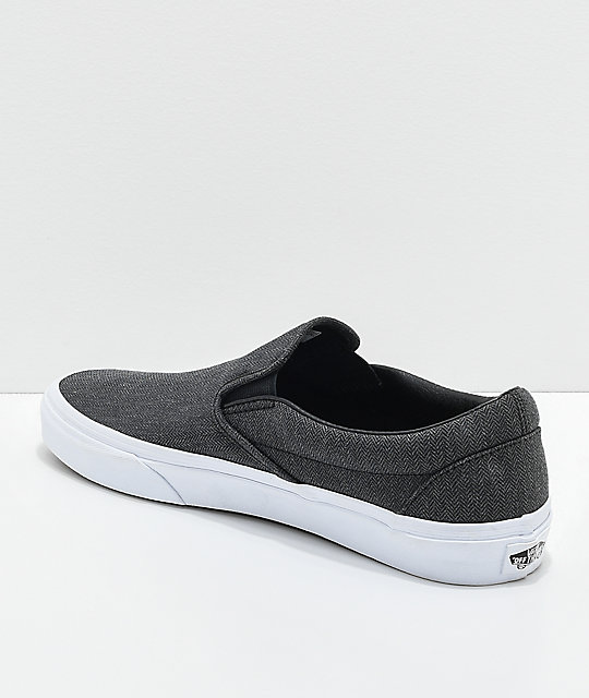 037a21946e ... Vans Classic Slip On Black Herringbone   True White Shoes ...