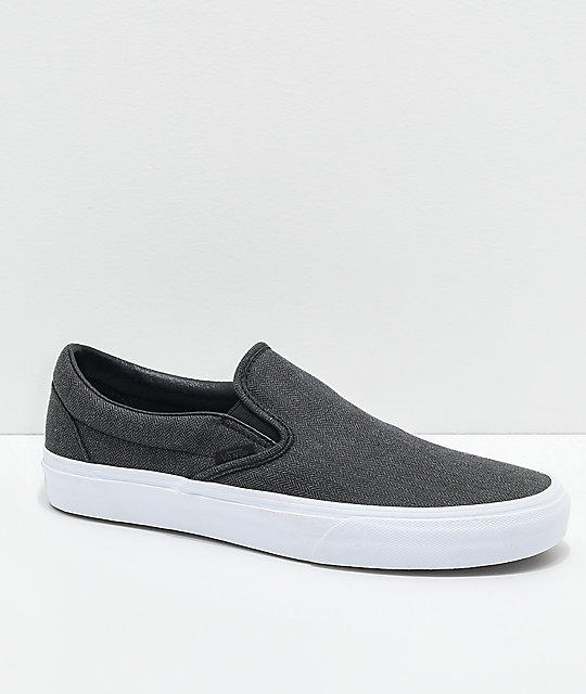 fa082e7db9a Vans Classic Slip On Black Herringbone   True White Shoes
