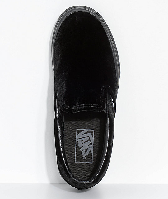 1f75f1f08e848c ... Vans Classic Slip-On Black Velvet Shoes ...