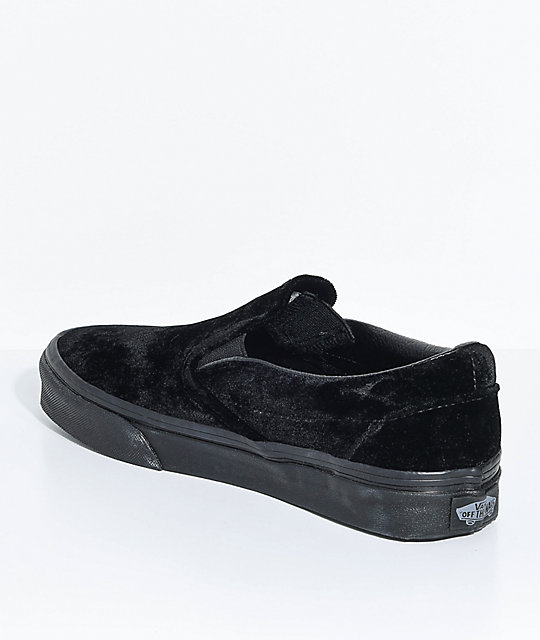 Vans Classic Slip-On Black Velvet Shoes