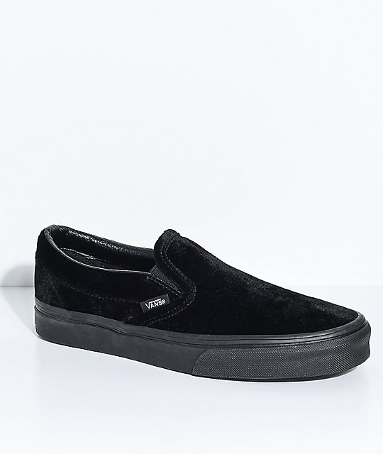 a021b13a735b Vans Classic Slip-On Black Velvet Shoes | Zumiez.ca