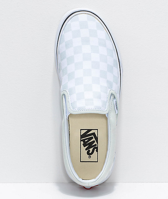 f6e60a68ea2b ... Vans Classic Slip On Checkerboard Blue Flower   True White Shoes ...