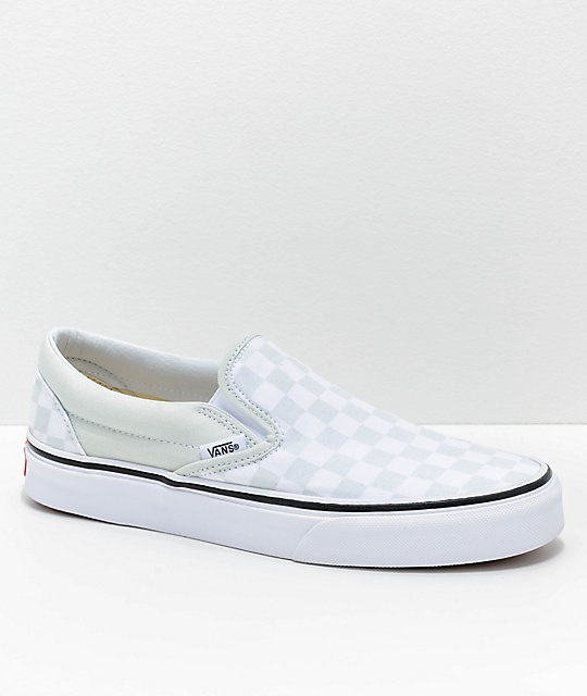 a119789748ed Vans Classic Slip On Checkerboard Blue Flower   True White Shoes ...