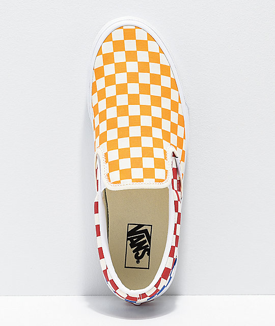 5da6cf2bcd ... Vans Classic Slip On Checkerboard Red