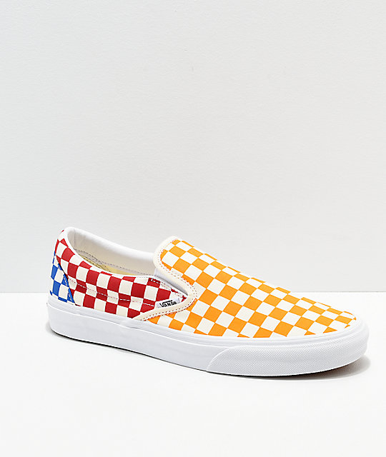 3f5fb138256a Vans Classic Slip On Checkerboard Red