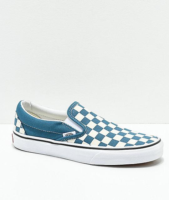 1643cbd933 Vans Classic Slip-On Corsair & White Checkerboard Shoes | Zumiez.ca