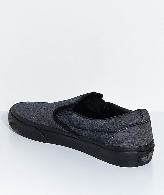 Vans Classic Slip-On Mono Black Chambray Skate Shoes