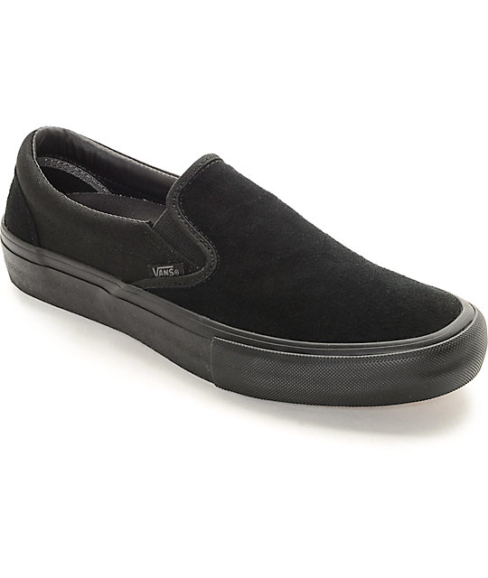 vans all black slip on