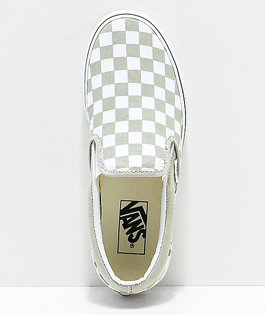 Vans Classic Slip On Sage & White Checkerboard Shoes