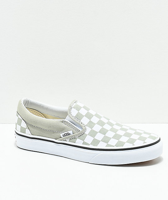 55c050dd9ff584 Vans Classic Slip On Sage   White Checkerboard Shoes