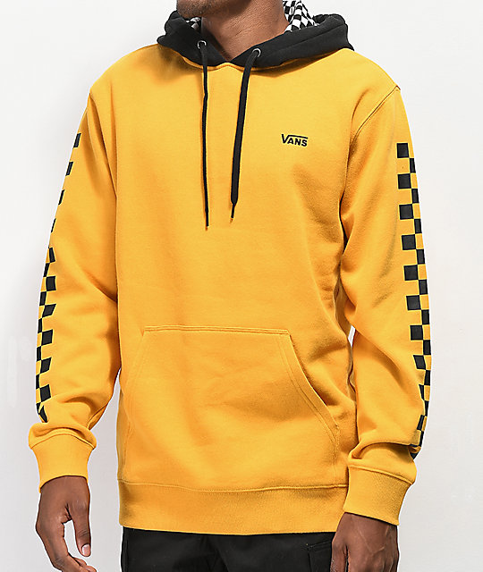 51e2d277 Vans Contrasting Checkered Gold & Black Hoodie
