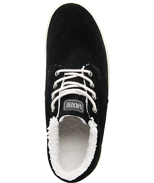 Vans Del Norte Black Suede Fleece Skate Shoes