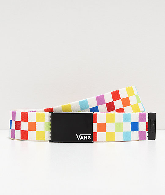 17f6bb77927a Vans Deppster Rainbow Checkerboard Web Belt