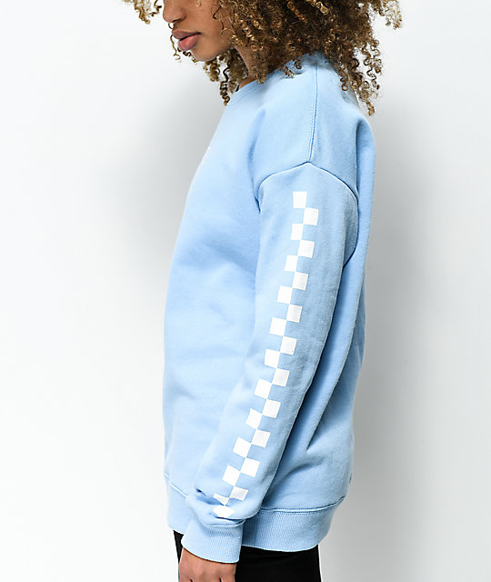 8ff416c8d4b ... Vans Drop V Checker Light Blue Crew Neck Sweatshirt ...