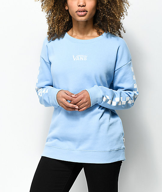 2851347d Vans Drop V Checker Light Blue Crew Neck Sweatshirt
