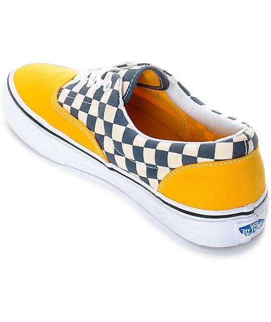 ... Vans Era 2-Tone Checkered Yellow   White Skate Shoes ... 6ac847211