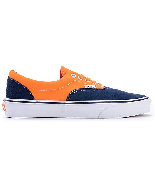 ... Vans Era 2-Tone Neon Orange Dress Blue Skate Shoes aa1416ea0eed