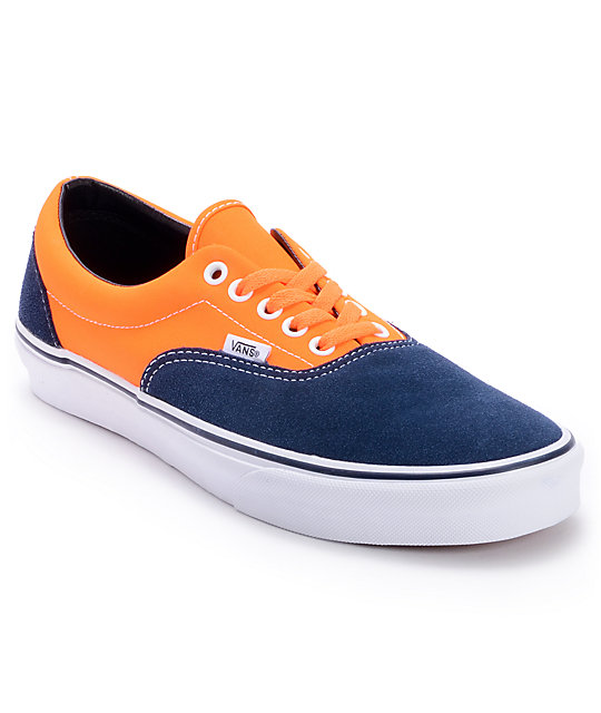 e4ce06cb7116db Vans Era 2-Tone Neon Orange Dress Blue Skate Shoes