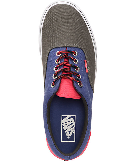 Vans Era 3 Tone Charcoal, Navy, & Pink Skate Shoes
