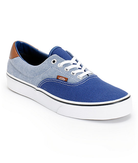 bfd91c05ee2775 Vans Era 59 Blue Canvas   Chambray Skate Shoes
