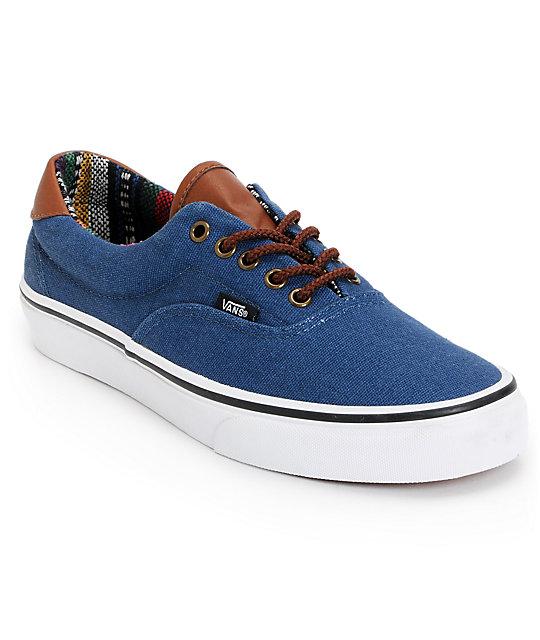 67329d80b86a75 Vans Era 59 Navy   Guate Canvas Skate Shoes