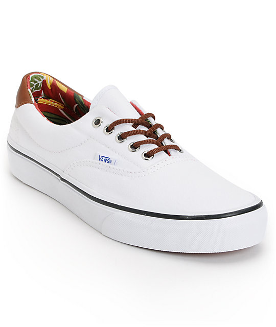 Vans Era 59 True White   Aloha Print Canvas Skate Shoes  018abdb06