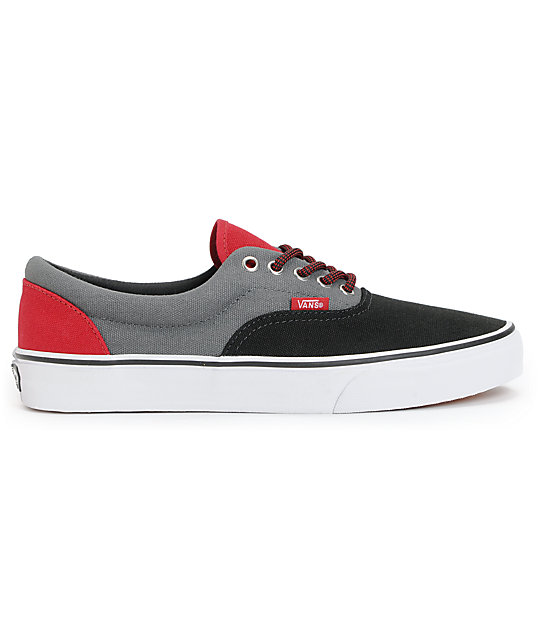 Vans Era Black, Castle Rock, & Red Skate Shoes