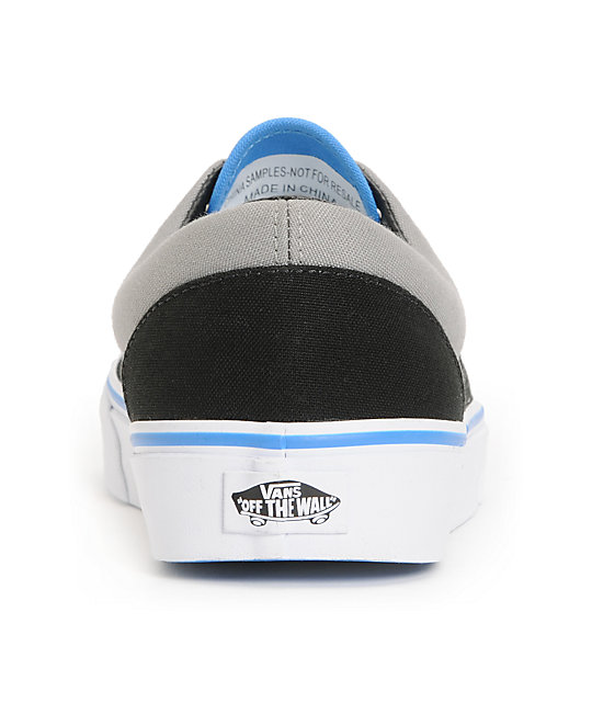 Vans Era Black, Grey, & Blue Skate Shoes
