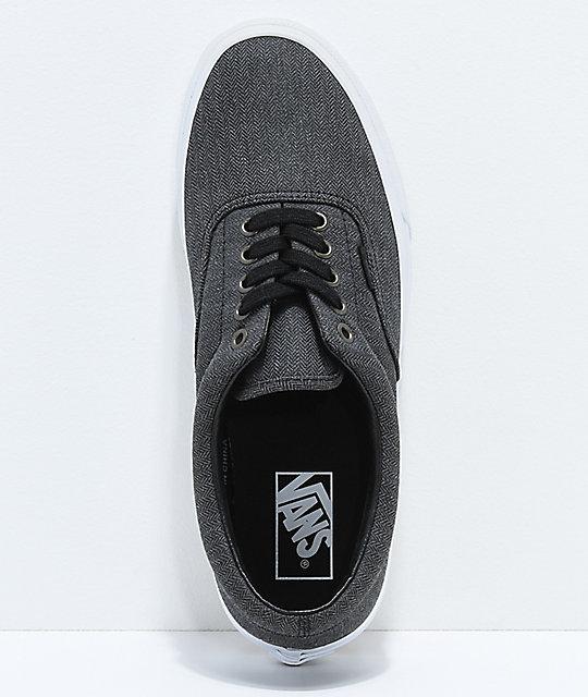 ... Vans Era Black Herringbone   True White Shoes ... e4f6072b3