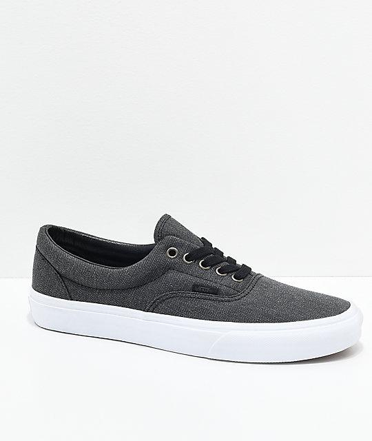 Vans Era Black Herringbone   True White Shoes  5a417c2f5