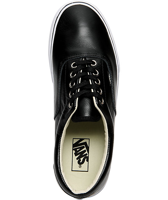 Vans Era Black Leather Skate Shoes