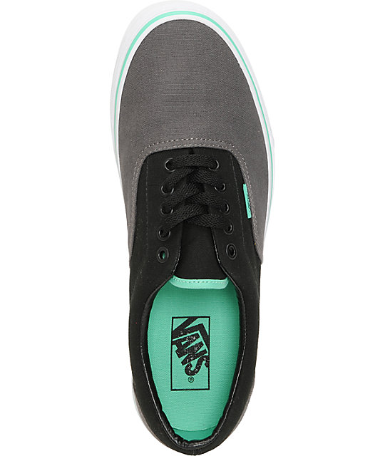 Vans Era Charcoal, Black, & Mint Green Skate Shoes