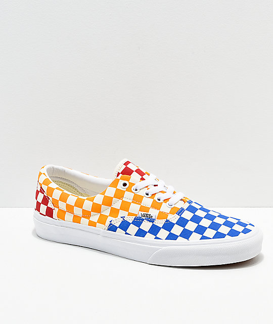 Vans Era Checkerboard Red, Blue & Yellow Skate Shoes
