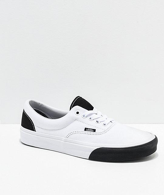 new product ede9f 7e2e6 Vans Era Color Block White & Black Skate Shoes