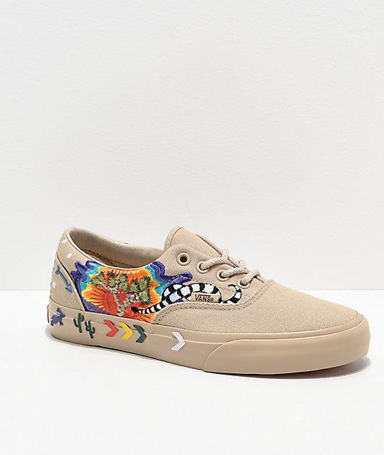 61505baee94340 Vans Era Desert Embellished Tan Skate Shoes
