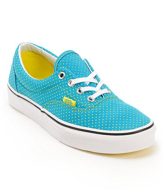4eb6f491cdace1 Vans Era Enamel Blue   Yellow Polka Dot Shoes