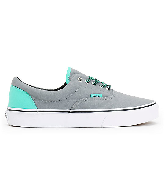 8602fb4ad4 ... Vans Era Grey   Electric Green Canvas Skate Shoes